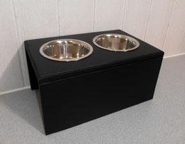 Hundefutterbar mit 2 Näpfen, in schwarz