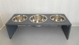 Hundefutterbar mit 3 Näpfen, in anthrazit
