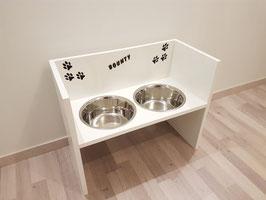 Hundefutterbar, 2 Näpfe, 2 x 2400 ml, in weiß, Pfoten