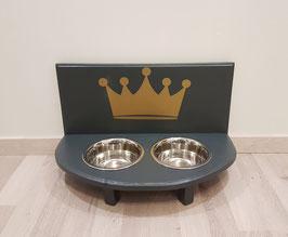 Hundefutterbar mit 2 Näpfen,anthrazit mit Krone gold 2 x 750 ml