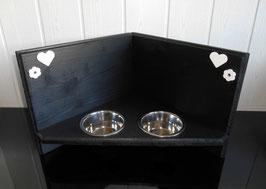 Katzenfutterbar / Eckfutterbar in schwarz