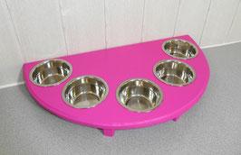 Futterbar mit 5 Näpfen, in Pink, halbrund
