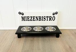 Katzenfutterbar mit 3 x 350 ml, weiß/schwarz, 2 Pfoten + Miezenbistro