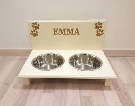 Hundefutterbar mit 2 Näpfen, elfenbein, 2 x 1500 ml, 4 Pfoten + Namen (gold)
