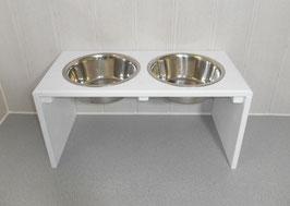 Hundefutterbar, 2 x 1500ml Näpfe, weiß