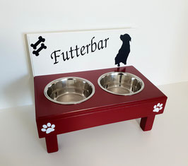 Hundefutterbar mit 2 Näpfen, 2 farbig, 2 x 2400 ml -inkl. Näpfe und Deko-