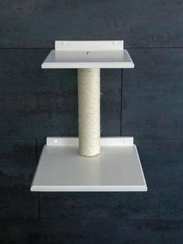 Wandpark Katze / Doppel-Plattform eckig mit 50 cm Sisalstamm (lackiert)