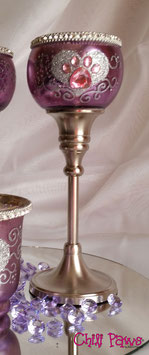 Rose Mercury Glass Long-Stem Tea Light Holder