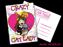 Chili Paws Crazy Cat Lady - Postcard
