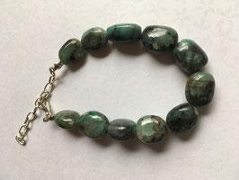 Smaragd Nugget Armband mit Karabiner Verschluss 20 cm