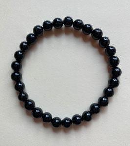 Turmalin Schörl Armband, 6 mm Kugeln, elastisch Stretchband Schörl Länge 19 cm