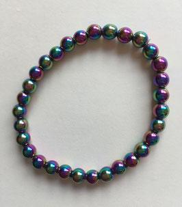 Hämatit Regenbogen  Kugel Armband, Kugeldurchmesser 6 mm,  19 cm elastisches Stretchband, gefärbter Hämatit