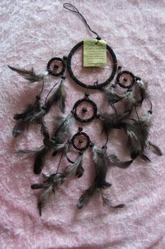 """Traumfänger """"schwarz"""" Gesamtlänge 40 cm Durchmesser Ringe 9 cm, 4,5 cm, 3,5 cm ∅ mit Perlen und Federn"""
