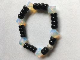 Turmalin mit Mondstein synthetisch Armband elastisch Stretchband Schörl Länge 19 cm