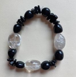 Bergkristall/Onyx Armband, Nuggets, Steine, Splitter, Länge  19 cm  elastisch Strechband