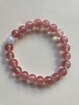 Erdbeerquarz mit weißer Bergkristall Perle Armband Kugeln 8 mm,  19 cm elastisches Stretchband