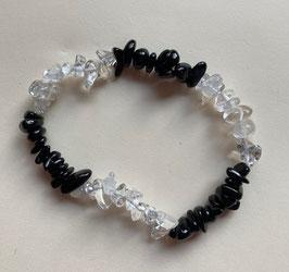 Bergkristall/Onyx Splitter Armband , kleinere Splitter,  19 cm lang elastisch