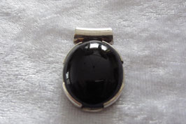 Onyx  schwarz Anhänger mit 925 Silberfassung, Abmessungen  28 mm, Steingröße 21 x  17 mm