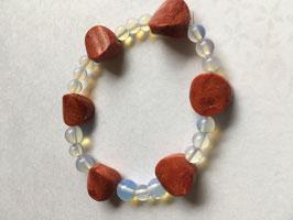 Schaumkorallen mit Mondstein  Armband Taler 15 mm Durchmesser und Mondstein 6-8 mm Kugeln , elastisch Stretchband 19 cm lang