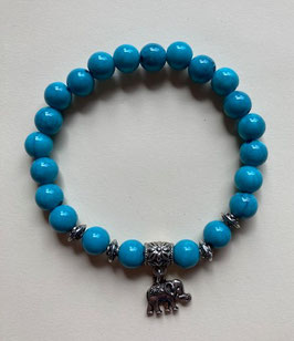 Howlith Kugel-Armband 8 mm elastisch Stretchband 19 cm mit silberfarbigem Anhänger ,Elefant'