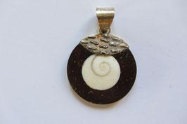 Shivas Auge Anhänger 30 mm Durchmesser mit Silber Ornament und Öse