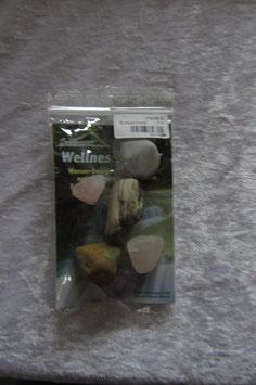 Wellnesswasser-Trinkmischung Bronzit Magnesit Rauchquarz Amazonit  - 8414FM - Trommelsteine