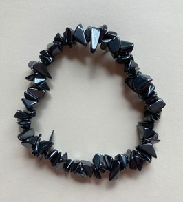 Hämatit  Armband 19 cm, mittler Splitter Größe, elastisch Stretchband