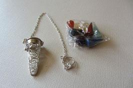 OM Füllpendel Chakra mit sieben Edelsteinen versilbert Größe 4 cm  mit 20 cm langer Pendelkette