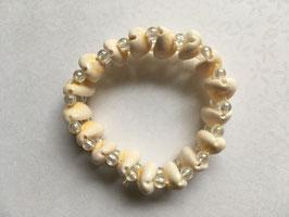Perlmutt/Muschel Armband mit Perlen elastisch Stretchband  18 cm