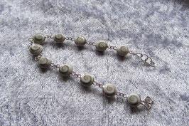 Shivas Auge Armband mit 11 runden Steinen 8 mm Durchmesser, in 925 Silber gefasst, 19 cm lang