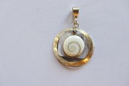 Shivas Auge Anhänger 10 mm Durchmesser mit Silberfassung 20 mm Durchmesser und Öse