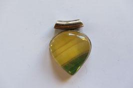 Fluorit Anhänger gelb grün 33 x 25 mm mit 925 Silberfassung