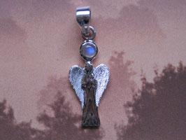 Engelanhänger S'chutzengel 27 mm mit Mondstein 4 mm aus 925 Silber