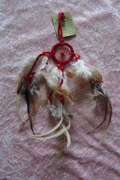 """Traumfänger """"rot"""" Gesamtlänge 30 cm Durchmesser Ring 5 cm ∅ mit Perlen und Federn"""