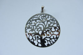 Lebensbaum Baum des Lebens Metall mit Zinklegierung 40 mm Durchmesser  silberfarbig