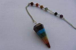 Chakra Pendel bestehend aus den Chakrafarben 40 mm mit mit 20 cm langer Pendelkette silberfarbig mit Edelsteinkugeln in den Chakrenfarben