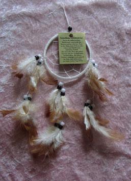 """Traumfänger """"weiß"""" Gesamtlänge 35 cm Durchmesser Ring 9 cm ∅ mit Perlen und Federn"""