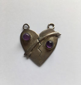 Amethyst Anhänger Herz 25 x 25 mm 925 Silber silberfarbig