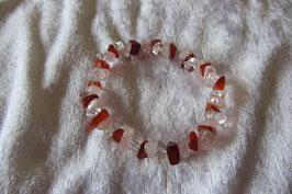 Bergkristall Rosenquarz Karneol Splitterarmband 19 cm elastisch