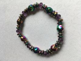 Hämatit Regenbogen  Armband 19 cm elastisch Stretchband, gefärbter Hämatit