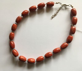 Schaumkoralle rot Kette, Ovale Perlen 20 x 12 mm, 42 cm mit 5 cm Verlängerung, silberfarbiger Karabiner-Verschluss