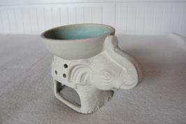 Räuchergefäß Elefant für Aromaöle, cremefarbig Stein 8,5 x 11,5 x 8 cm