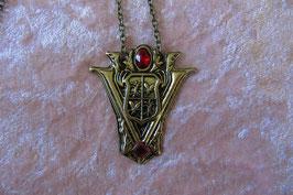 """Kette mit Amulett Metallanhänger """"Twilight New Moon"""" 50 x 45 mm bronzefarbig, Kettenlänge 50 cm"""
