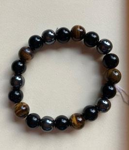 Tigerauge Obsidian Hämatit Armband  20 cm lang elastisch Stretchband, bestehend aus jeweils 10 mm Kugeln