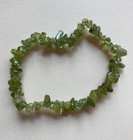 Peridot Olivin Splitterarmband,  kleine Splitter,  19 cm lang, elastisch Strechband