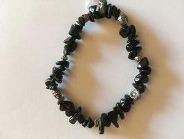Onyx Splitter-Armband 20 cm elastisch Stretchband mit silberfarbigen Spacern