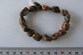 Jaspis - Leopardenjaspis Nugget Armband 18 cm elastisch Stretchband