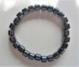Hämatit Herren Armband 21 cm elastisch Stretchband Walzen 8 x 8 mm