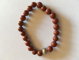 Jaspis rot matt Kugelarmband 8 mm, Länge 19 cm elastisch Stretchband