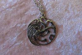 """Kette mit Amulett Metallanhänger """"Game of Thrones"""" 34 x 34 mm silberfarbig, Kettenlänge 50 cm"""